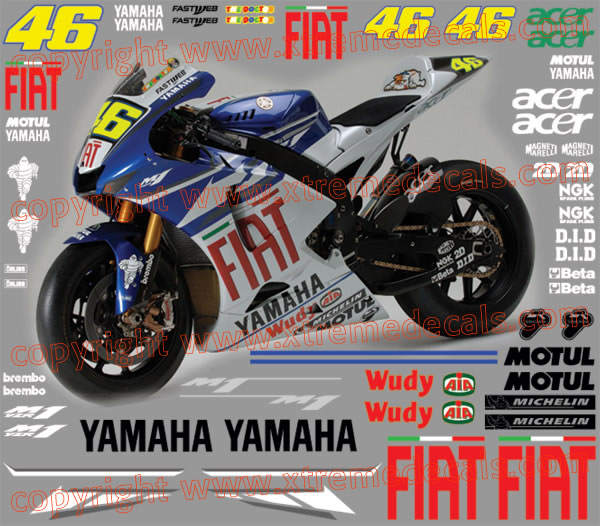 High Quality 2007 Yamaha Fiat Rossi Racebike Kit Decals And