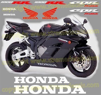 2005 CBR 1000 RR Black Bike Decal Set